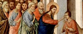 Jesús sana a un hombre ciego (Duccio)