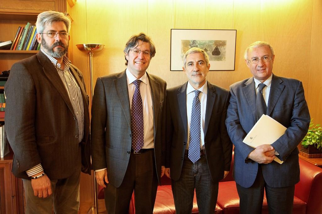 (De izq. a der.) Alfredo Abad, Mariano Blázquez, Gaspar Llamazares y José Manuel Fernández | FOTO: M. Gala