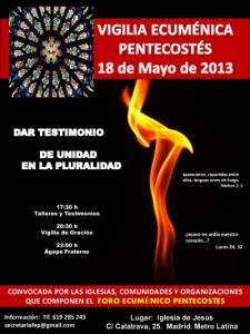 Cartel Vigilia Ecuménica Pentecostes2013